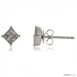 "14k White Gold Square Stud Diamond Earrings, w/ 0.25 Carat Invisible Set Diamonds, 3/16"" (5mm)"