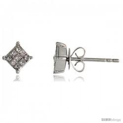 """14k White Gold Square Stud Diamond Earrings, w/ 0.25 Carat Invisible Set Diamonds, 3/16"""" (5mm)"""