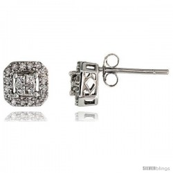 "14k White Gold Square Diamond Earrings, w/ 0.30 Carat Brilliant Cut & Invisible Set Diamonds, 1/4"" (7mm)"