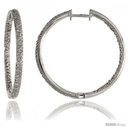 "14k White Gold Diamond Hoop Earrings, w/ 0.98 Carat Brilliant Cut Diamonds, 1 3/16"" (30mm)"