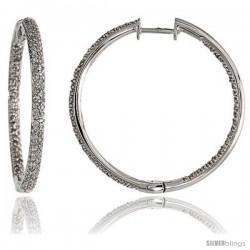 """14k White Gold Diamond Hoop Earrings, w/ 0.98 Carat Brilliant Cut Diamonds, 1 3/16"""" (30mm)"""
