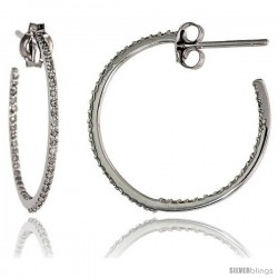 "14k White Gold Diamond Hoop Earrings, w/ 0.35 Carat Brilliant Cut Diamonds, 7/8"" (23mm)"