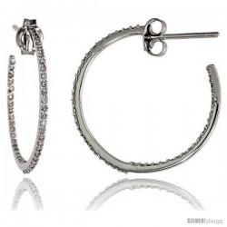 """14k White Gold Diamond Hoop Earrings, w/ 0.35 Carat Brilliant Cut Diamonds, 7/8"""" (23mm)"""