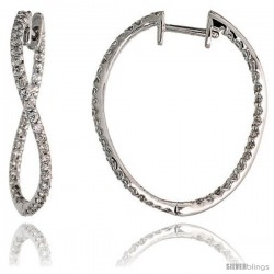 "14k White Gold Diamond Hoop Earrings, w/ 0.80 Carat Brilliant Cut Diamonds, 1"" (25mm)"
