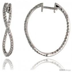 """14k White Gold Diamond Hoop Earrings, w/ 0.80 Carat Brilliant Cut Diamonds, 1"""" (25mm)"""