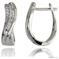 "14k White Gold Diamond Huggie Earrings, w/ 0.25 Carat Baguette Diamonds, 11/16"" (17mm) tall"