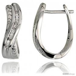 "14k White Gold Diamond Huggie Earrings, w/ 0.25 Carat Baguette Diamonds, 11/16"" (17mm) tall"