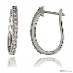 "14k White Gold Diamond Huggie Earrings, w/ 0.37 Carat Brilliant Cut Diamonds, 3/4"" (19mm) tall"