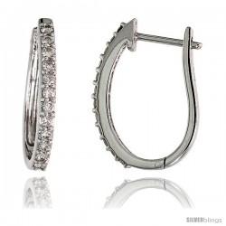 "14k White Gold Diamond Huggie Earrings, w/ 0.37 Carat Brilliant Cut Diamonds, 3/4"" (19mm) tall"