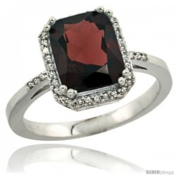 Sterling Silver Diamond Natural Garnet Ring 2.53 ct Emerald Shape 9x7 mm, 1/2 in wide