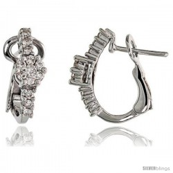 "14k White Gold Floral Diamond Huggie Earrings, w/ 0.50 Carat Brilliant Cut Diamonds, 5/8"" (16mm) tall"