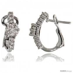 "14k White Gold Floral Diamond Huggie Earrings, w/ 0.50 Carat Brilliant Cut Diamonds, 5/8"" (16mm) tall"