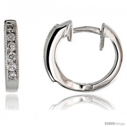"14k White Gold Diamond Huggie Earrings, w/ 0.15 Carat Brilliant Cut Diamonds, 1/2"" (12mm)"