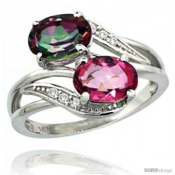 14k White Gold ( 8x6 mm ) Double Stone Engagement Pink & Mystic Topaz Ring w/ 0.07 Carat Brilliant Cut Diamonds & 2.34 Carats