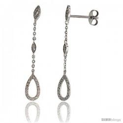 "14k White Gold Dangling Diamond Earrings, w/ 0.22 Carat Brilliant Cut Diamonds, 1 7/16"" (36mm) tall"