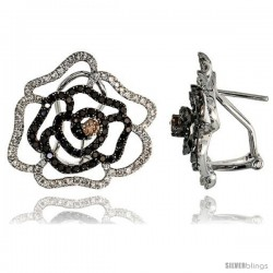 "14k White Gold Large Flower French Clip Earrings, w/ 1.72 Carats Brilliant Cut White & Black Diamonds, 13/16"" (21mm) tall"