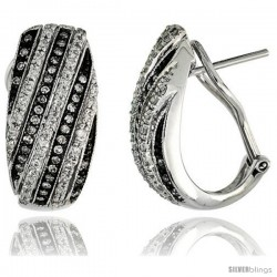 "14k White Gold French Clip Diamond Earrings, w/ 0.62 Carat Brilliant Cut Diamonds, 13/16"" (21mm) tall"
