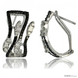 14k White Gold Leaf French Clip Earrings, w/ 1.72 Carats Brilliant Cut White & Black Diamonds, 13/16 (21mm) tall