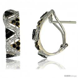 "14k White Gold Triangular Pattern French Clip Earrings, w/ 1.00 Carat Brilliant Cut White & Black Diamonds, 3/4"" (19mm) tall"
