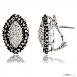 "14k White Gold Marquise-shaped French Clip Earrings, w/ 0.80 Carat Brilliant Cut Diamonds, 5/8"" (16mm) tall"