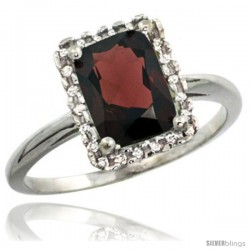 Sterling Silver Diamond Natural Garnet Ring 1.6 ct Emerald Shape 8x6 mm, 1/2 in wide
