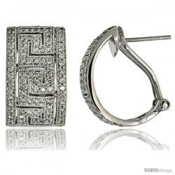 "14k White Gold Greek Key French Clip Earrings, w/ 1.00 Carat Brilliant Cut Diamonds, 3/4"" (19mm) tall"