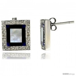 14k White Gold Square Stud Diamond Earrings, w/ 0.10 Carat Brilliant Cut Diamonds, Mother of Pearl, Lapis Lazuli & Black Onyx
