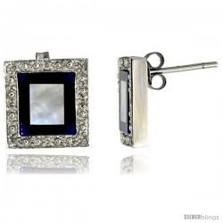 14k White Gold Square Stud Diamond Earrings, w/ 0.10 Carat Brilliant Cut Diamonds, Mother of Pearl, Lapis Lazuli & Black Onyx