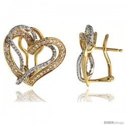 """14k Two-tone Gold Interlacing Hearts French Clip Earrings, w/ 0.62 Carat Brilliant Cut Diamonds, 13/16"""" (21mm) tall"""