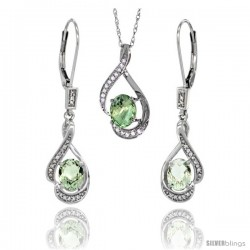 14K White Gold Natural Green Amethyst Lever Back Earrings & Pendant Set Diamond Accent