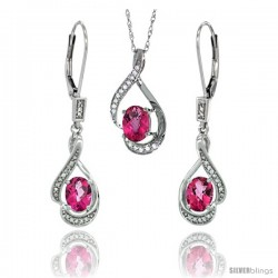 14K White Gold Natural Pink Topaz Lever Back Earrings & Pendant Set Diamond Accent