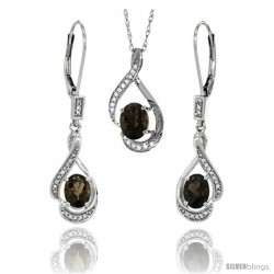 14K White Gold Natural Smoky Topaz Lever Back Earrings & Pendant Set Diamond Accent