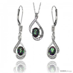 14K White Gold Natural Mystic Topaz Lever Back Earrings & Pendant Set Diamond Accent