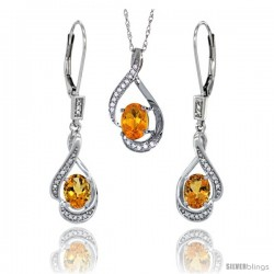 14K White Gold Natural Citrine Lever Back Earrings & Pendant Set Diamond Accent