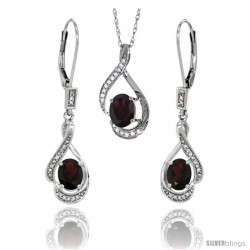 14K White Gold Natural Garnet Lever Back Earrings & Pendant Set Diamond Accent