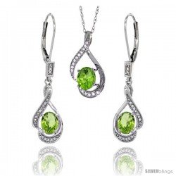 14K White Gold Natural Peridot Lever Back Earrings & Pendant Set Diamond Accent