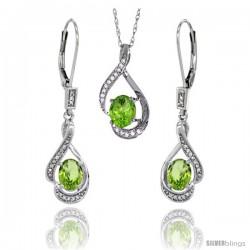 14K White Gold Natural Peridot Lever Back Earrings & Pendant Set Diamond Accent