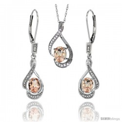 14K White Gold Natural Morganite Lever Back Earrings & Pendant Set Diamond Accent