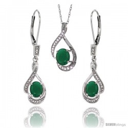14K White Gold Natural Emerald Lever Back Earrings & Pendant Set Diamond Accent