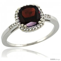 Sterling Silver Diamond Natural Garnet Ring 1.5 ct Checkerboard Cut Cushion Shape 7 mm, 3/8 in wide
