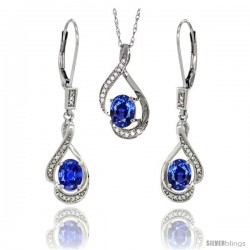 14K White Gold Natural Blue Sapphire Lever Back Earrings & Pendant Set Diamond Accent