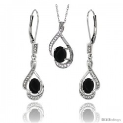 14K White Gold Natural Black Onyx Lever Back Earrings & Pendant Set Diamond Accent