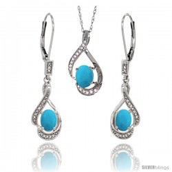 14K White Gold Natural Turquoise Lever Back Earrings & Pendant Set Diamond Accent