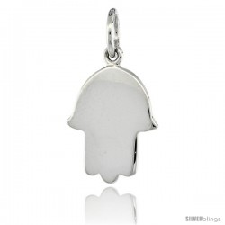 Sterling Silver ( Hand of God ) Plain Hamsa Pendant 3/4 in (17 mm) tall