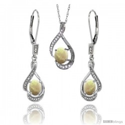 14K White Gold Natural Opal Lever Back Earrings & Pendant Set Diamond Accent