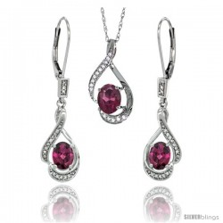 14K White Gold Natural Rhodolite Lever Back Earrings & Pendant Set Diamond Accent