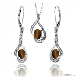 14K White Gold Natural Tiger Eye Lever Back Earrings & Pendant Set Diamond Accent
