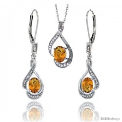 14K White Gold Natural Whisky Quartz Lever Back Earrings & Pendant Set Diamond Accent