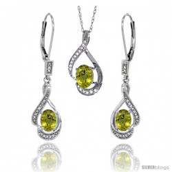 14K White Gold Natural Lemon Quartz Lever Back Earrings & Pendant Set Diamond Accent