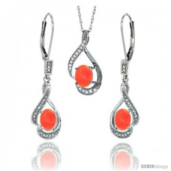 14K White Gold Natural Coral Lever Back Earrings & Pendant Set Diamond Accent